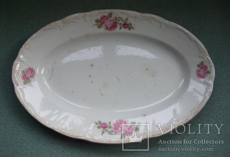 Блюдо овальное Чайные розы. Фаянс, старое клеймо., фото №2