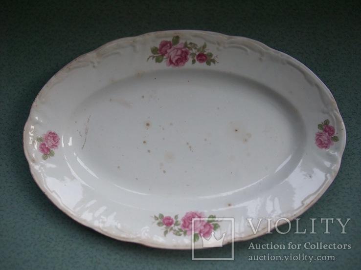 Блюдо овальное Чайные розы. Фаянс, старое клеймо., фото №5