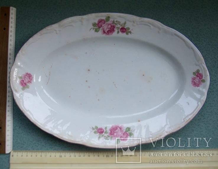Блюдо овальное Чайные розы. Фаянс, старое клеймо., фото №6