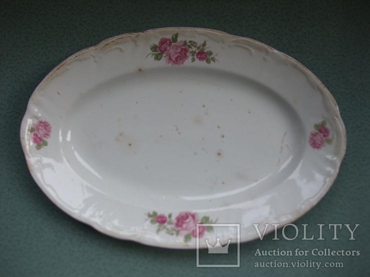 Блюдо овальное Чайные розы. Фаянс, старое клеймо., фото №7