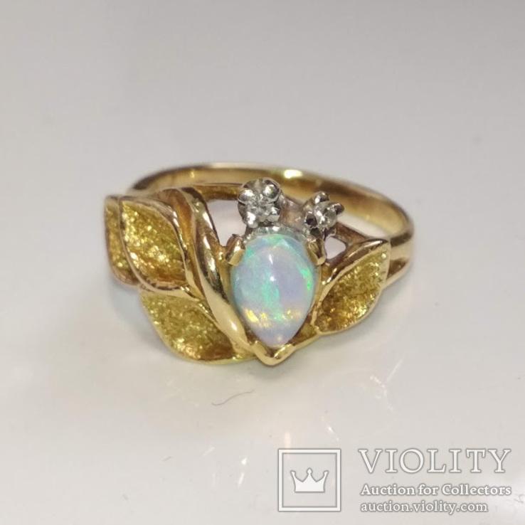 Винтажное золотое кольцо с натуральным опалом и бриллиантами, фото №4