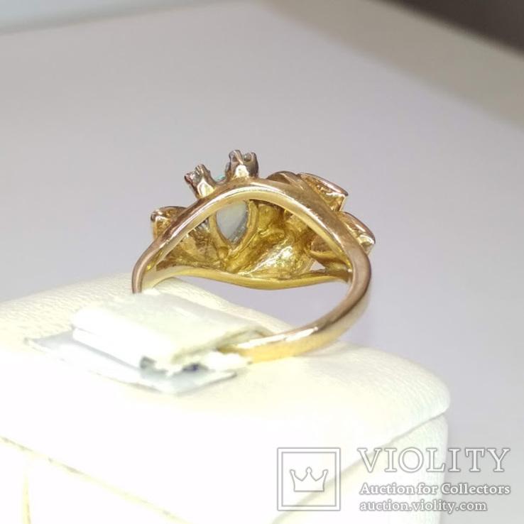 Винтажное золотое кольцо с натуральным опалом и бриллиантами, фото №6