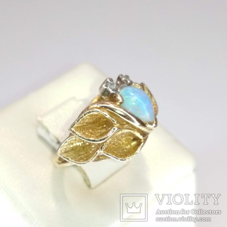 Винтажное золотое кольцо с натуральным опалом и бриллиантами, фото №7