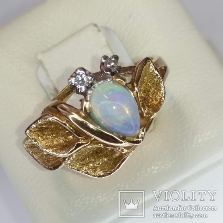 Винтажное золотое кольцо с натуральным опалом и бриллиантами, фото №9