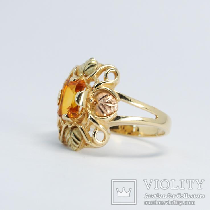 Золотое кольцо (10к) с натуральным цитрином, фото №3