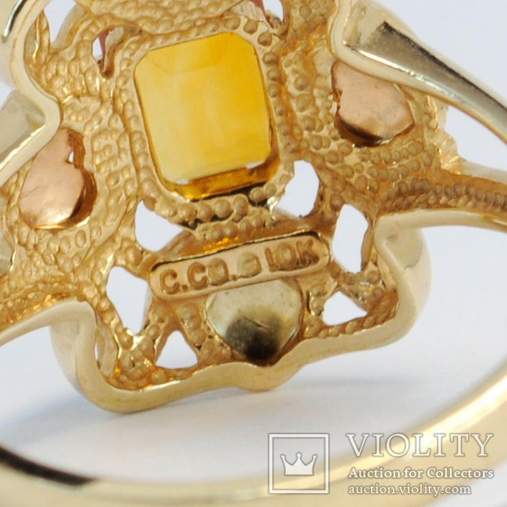 Золотое кольцо (10к) с натуральным цитрином, фото №7