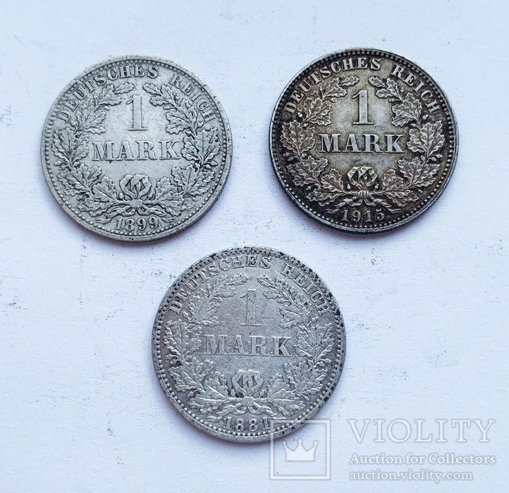 Марки 1881, 1889  и 1915 года. (3 шт.). Германия, фото №2