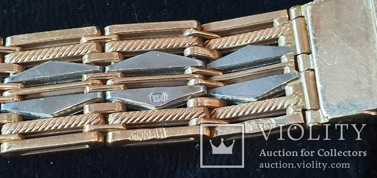 Браслет для часов комбинированный  Золото 585 / Платина 950 пробы. Унисекс, фото №8