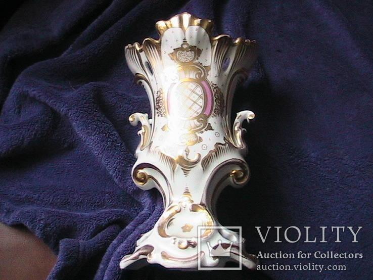 Старинная фарфоровая  ваза с ручной росписью с клеймом 19 ст, фото №3