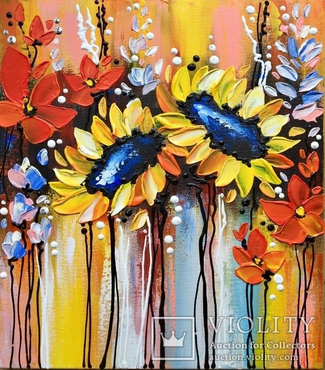 Картина акрилом «Поляна цветов» 45х40