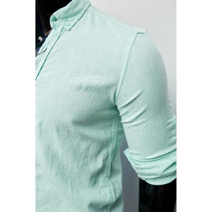 Рубашка мужская льняная Figo 15276-1 с регулировкой рукава мята