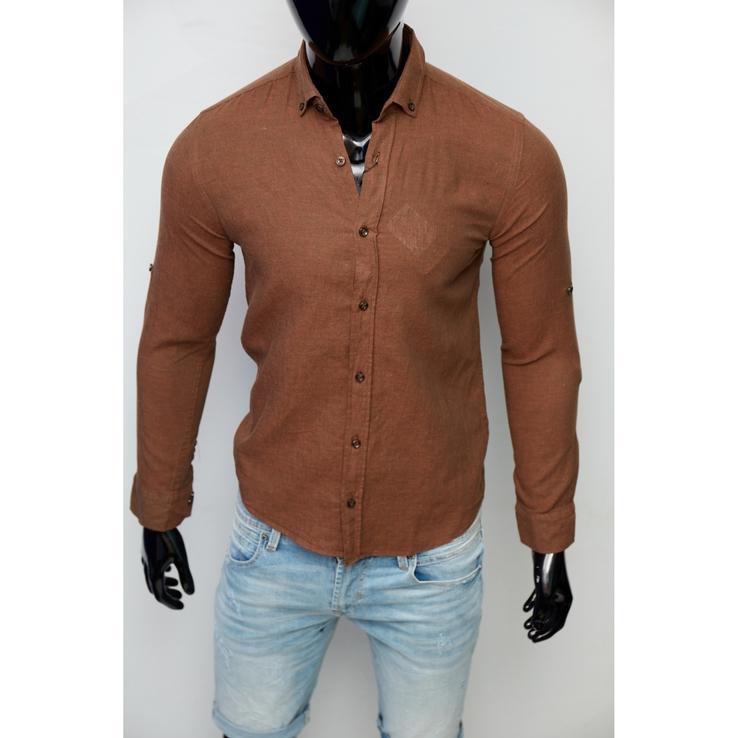 Рубашка мужская льняная Figo 15276-3 с регулировкой рукава коричневая