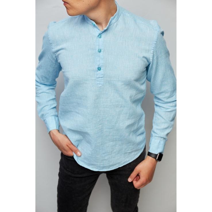 Рубашка мужская льняная  Figo 18018-1 с регулировкой рукава светло-синяя