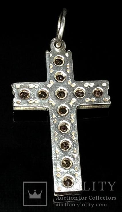 Крестик, цирконы, оранжевые камни, фото №3