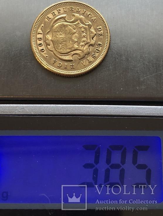 5 колонес 1900 год Коста Рика золото 3,85 грамма 900', фото №4