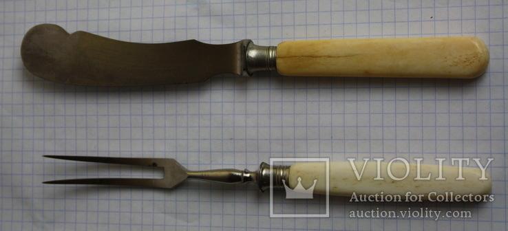 Вилка и нож ручки из кости, фото №2
