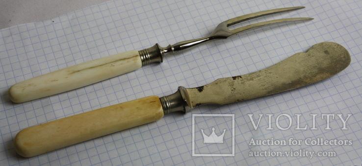 Вилка и нож ручки из кости, фото №3