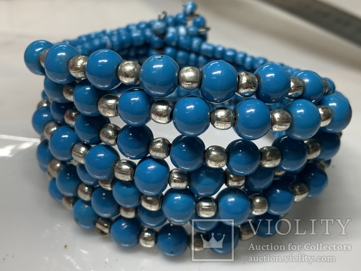 Винтажный синий браслет с Англии 57 грамм, фото №2