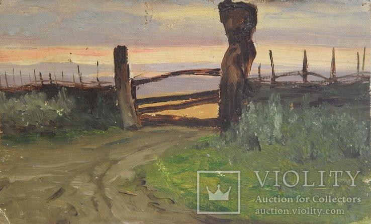 Сельский пейзаж. Закат. Картина маслом на холсте (7), фото №2