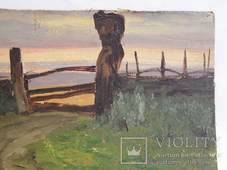 Сельский пейзаж. Закат. Картина маслом на холсте (7), фото №5