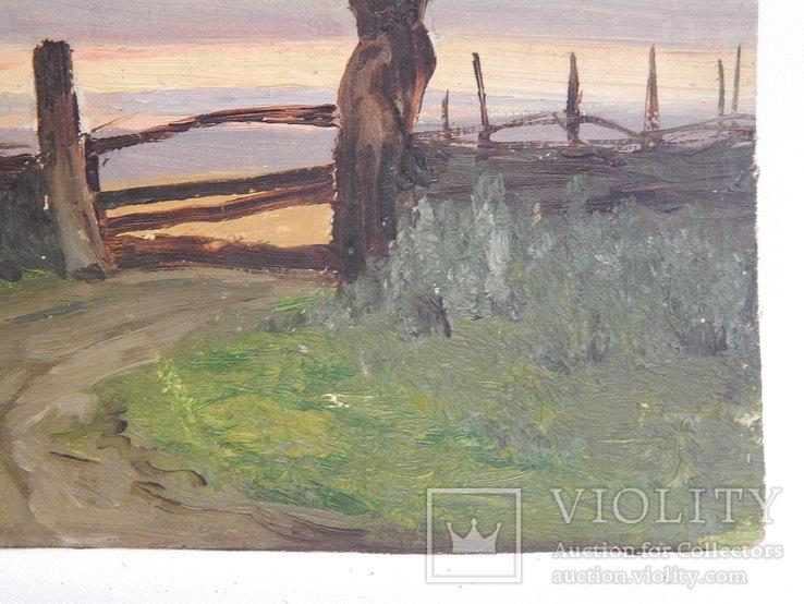 Сельский пейзаж. Закат. Картина маслом на холсте (7), фото №6