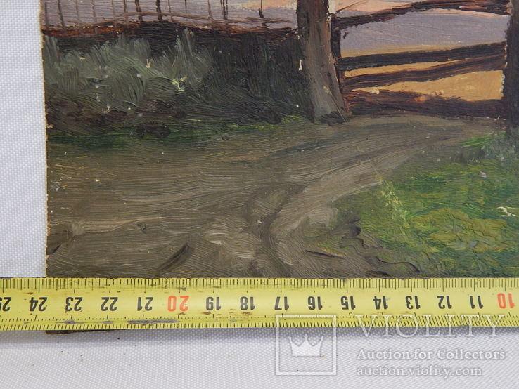 Сельский пейзаж. Закат. Картина маслом на холсте (7), фото №7