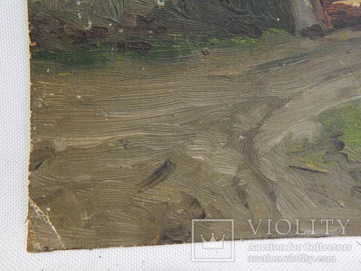 Сельский пейзаж. Закат. Картина маслом на холсте (7), фото №8