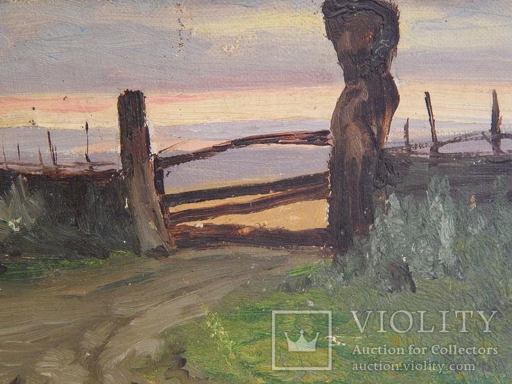Сельский пейзаж. Закат. Картина маслом на холсте (7), фото №9