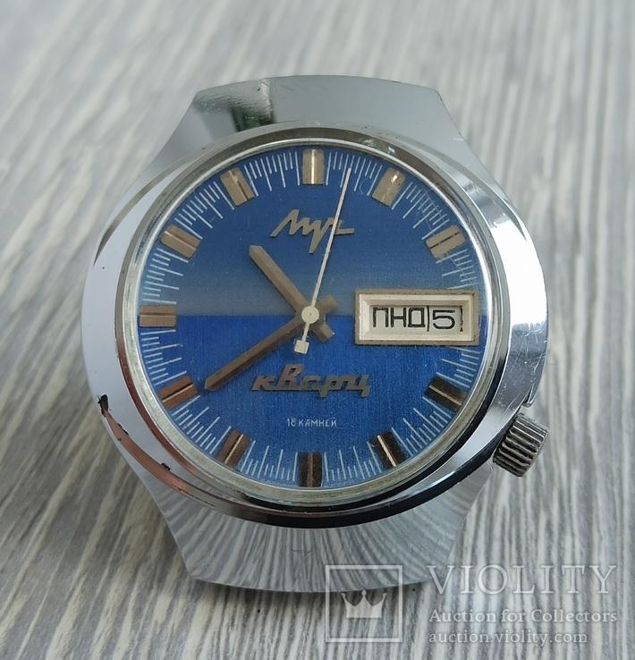 Часы. Луч / электронно-механические / синие, фото №2