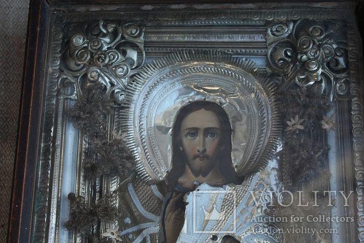 Старинная икона под стеклом (34х30 см), фото №3