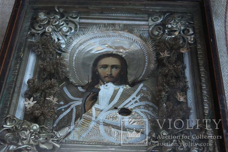 Старинная икона под стеклом (34х30 см), фото №7