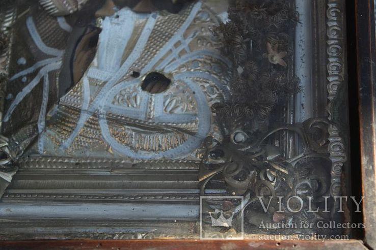 Старинная икона под стеклом (34х30 см), фото №9
