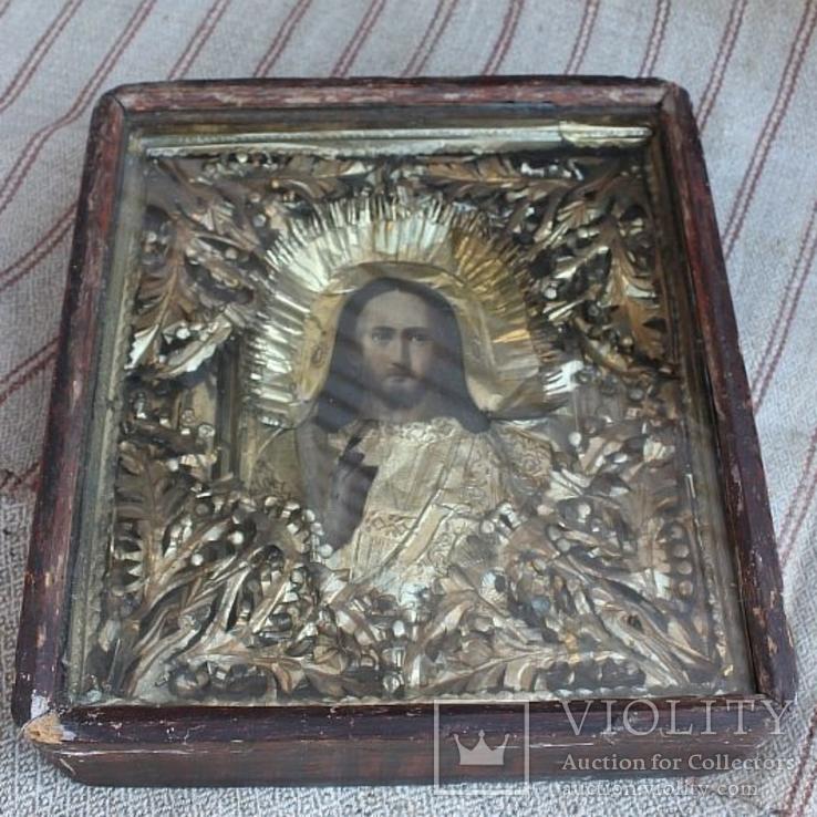 Старинная икона под стеклом (32х36 см), фото №2