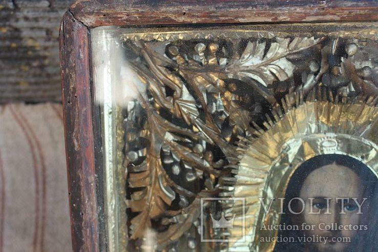 Старинная икона под стеклом (32х36 см), фото №6