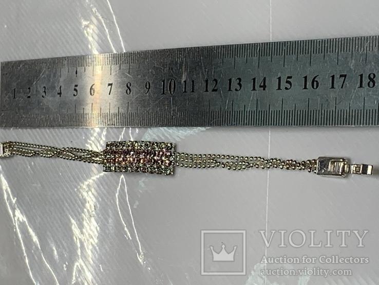 Посеребренный браслет ссанглии с белыми и розовыми камушками, фото №4