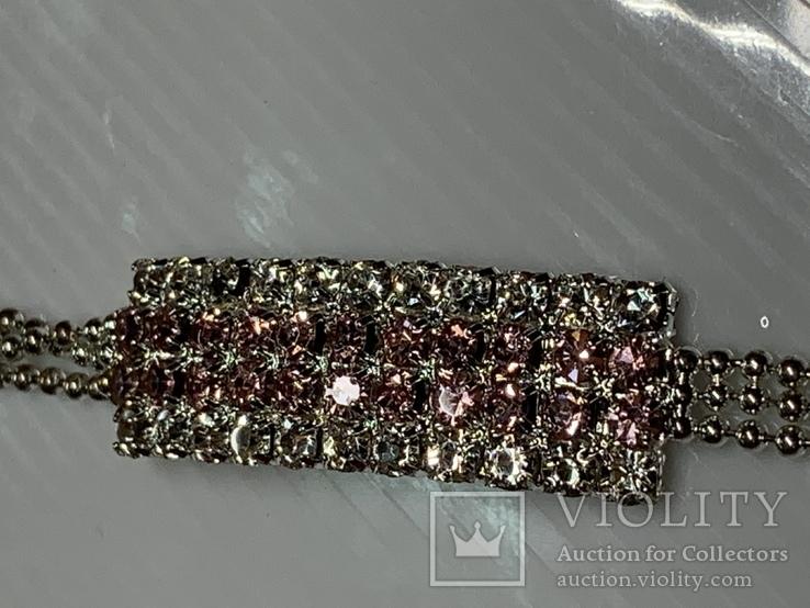 Посеребренный браслет ссанглии с белыми и розовыми камушками, фото №5