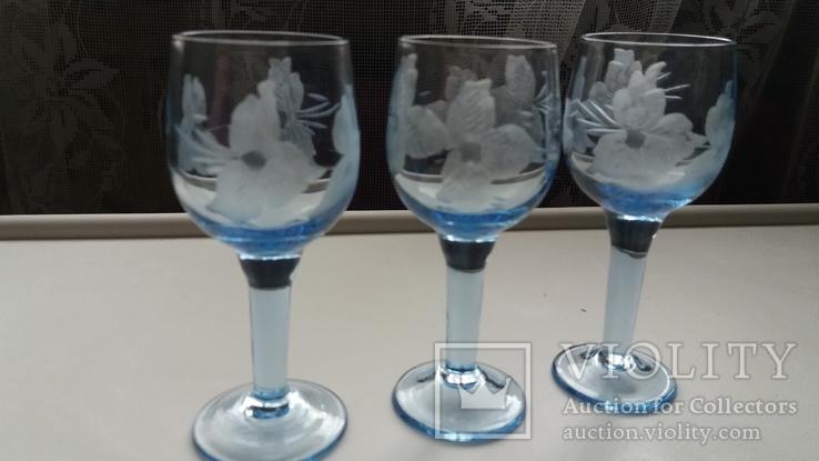 Рюмки синее стекло СССР, фото №2