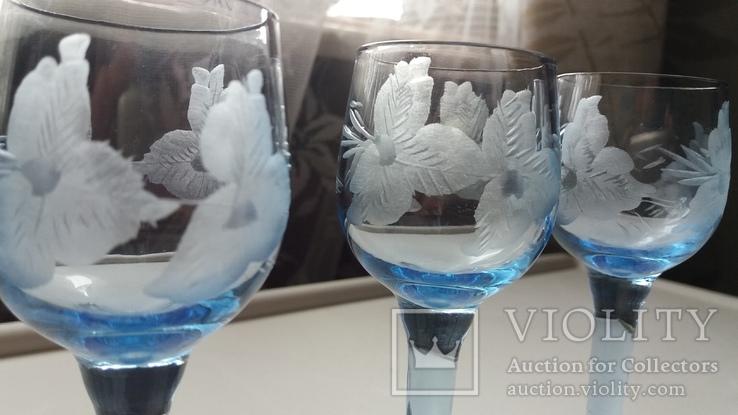 Рюмки синее стекло СССР, фото №6