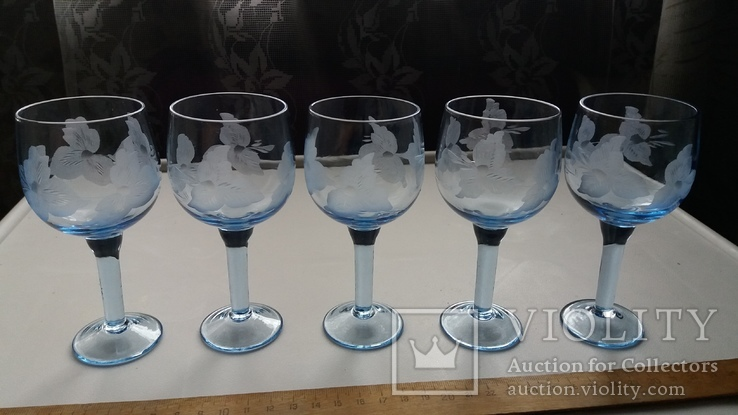 Бокалы СССР, синее стекло, фото №2