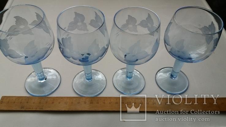 Бокалы СССР, синее стекло, фото №3