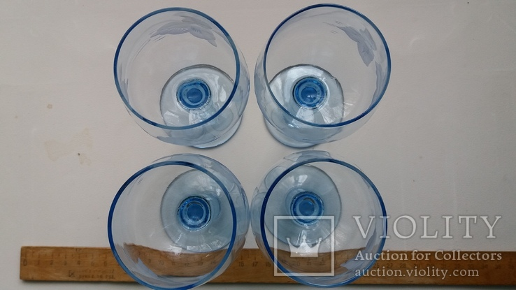 Бокалы СССР, синее стекло, фото №4