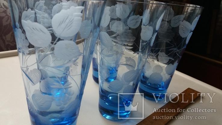 Стаканы СССР синее стекло, фото №3