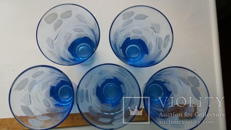 Стаканы СССР синее стекло, фото №4