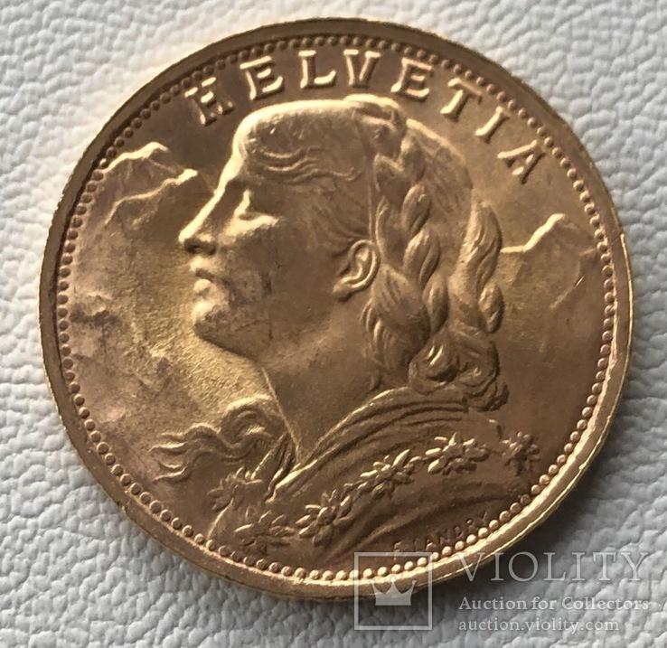 20 франков 1935 год Швейцария золото 6,45 грамм 900'