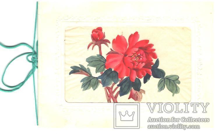 Открытка, вставка расписана вручную, фото №2