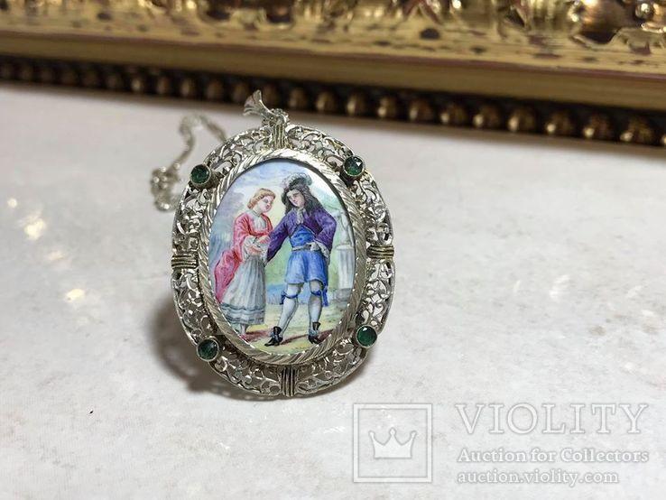 Старинный кулон из серебра с живописной эмалью., фото №3