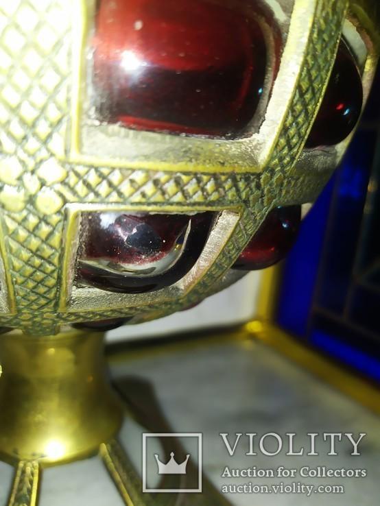 Ваза фруктовница конфетница нарядная бронза стекло тяжелая, фото №6