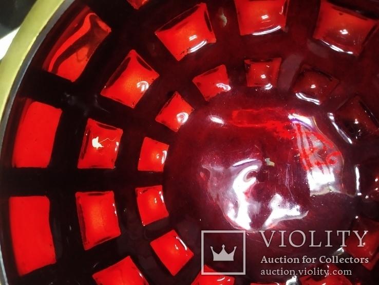 Ваза фруктовница конфетница нарядная бронза стекло тяжелая, фото №10