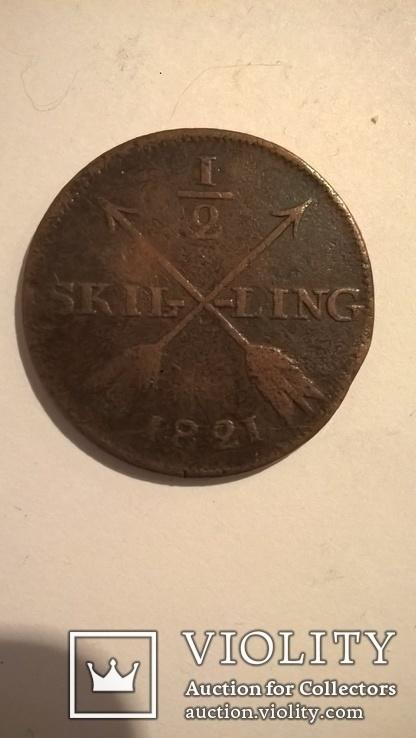 Швеция 1/2 скиллинга 1821, фото №2