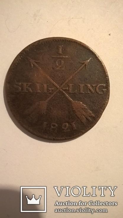 Швеция 1/2 скиллинга 1821, фото №3